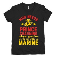 HUMAN Who Needs Prince Charming? (Marine) Black T-Shirt