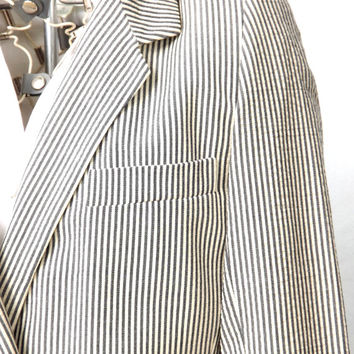 Womens Suit Jacket, Pinstripe Blazer Jacket, Designer Donna Karan Jacket, Size Small 4 6