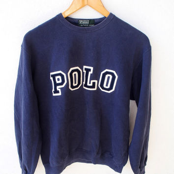 BIG SALE 25% POLO Ralph Lauren Spell Out Joe Pesci Vintage 90's Big Logo 80's Hip Hop Blue Pullover Sweater Crewneck Size L Youth