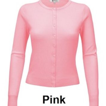 Mak classic Button Up Sweater in Pink