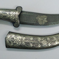 damascus steel blade knife dagger silver bidaree work handmade