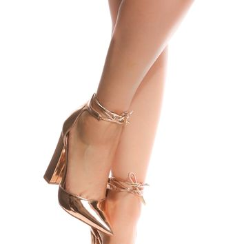 Rose Gold Faux Leather Chunky Pointed Toe Heels @ Cicihot Heel Shoes online store sales:Stiletto Heel Shoes,High Heel Pumps,Womens High Heel Shoes,Prom Shoes,Summer Shoes,Spring Shoes,Spool Heel,Womens Dress Shoes