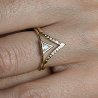 Diamond Wedding Set With Curved Diamond Band,14k SOLID GOLD | Capucinne