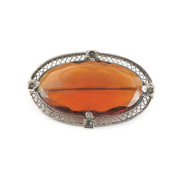 Art Deco Brooch, Silver Tone, Filigree Metal, Amber Glass, Sash Pin, Art Deco Jewelry, Vintage Brooch, Vintage Jewelry