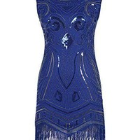 Women's 1920s Gatsby Art Deco Sequined Embellishment Fringed Flapper Party Dress