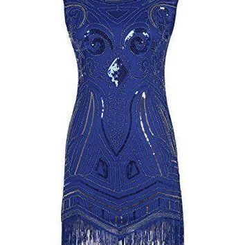DlFASHION Women's 1920s Gatsby Art Deco Sequined Embellishment Fringed Flapper Party Dress