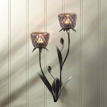 Smoke Mist Glass Flower Candle Holder Iron Wall Sconce