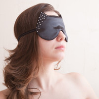 Satin Sleep Mask, Cat, rhinestones