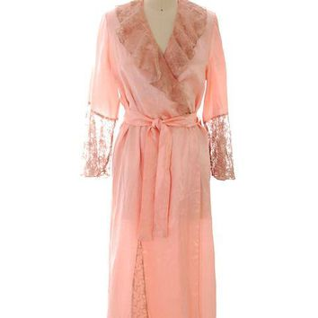 6be253980 Vintage Peach Boudoir Robe Silk Satin Lace 1930s M-L 44 Bust