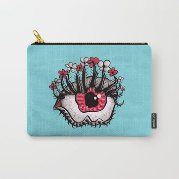 Eye Melt - Weird Red Eye With Flower Eyelashes Carry-All Pouch by borianagiormova