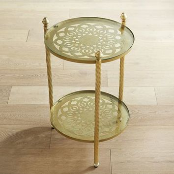 Clarin Champagne Round Accent Table