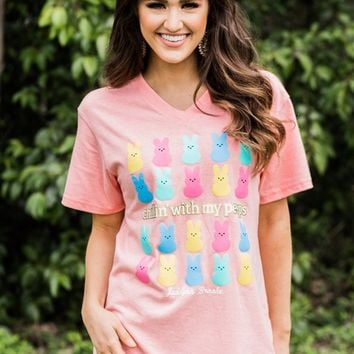 Chillin' With My Peeps S/S V-Neck Tee - Heather Co