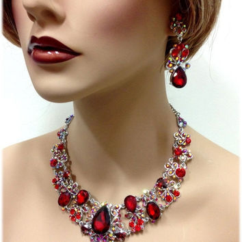 Wedding jewelry set, Formal jewelry, Red crystal bib necklace earrings, vintage inspired crystal necklace statement, crystal jewelry set