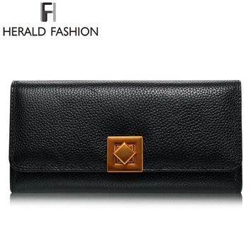 Herald Fashion Women Genuine Leather Wallet Litchi Pattern Wallet Women Purse Female Money Clip Vintage Clutch
