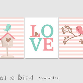Spring nursery decor,bird art printable baby girl nursery set, pink nursery decor,Love nursery set of 3 prints,spring decor INSTANT DOWNLOAD