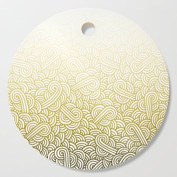 Gradient yellow and white swirls doodles Cutting Board by savousepate