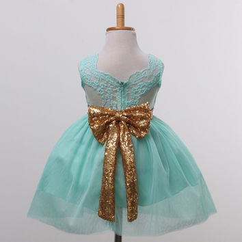 "The ""Lani"" Aqua and Gold Sequin Bow Lace Tutu Dress"