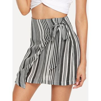 Black And White Striped Print Wrap Skirt