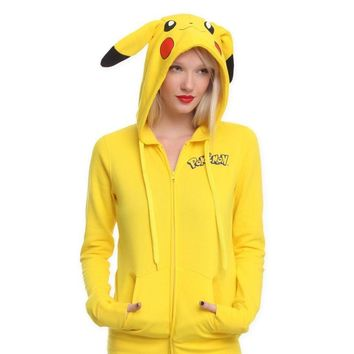 2018 Fashion Women Jacket Yellow Solid  Pikachu Printed Costume Tail Zip Totoro Hoodie Sweatshirt Casual Sudaderas MujerKawaii Pokemon go  AT_89_9