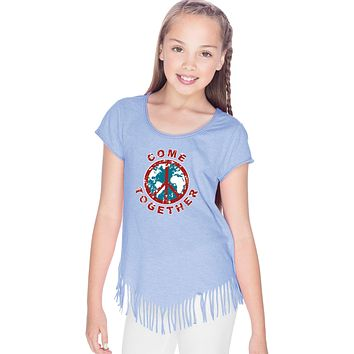 Girls Peace T-shirt Come Together Fringe Tee