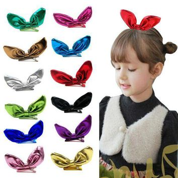 PEAP78W Delicate hair accessories headband  12PCS Big Bow Knot Children Girl Barrettes Rabbit Ear Hair Accessories Headwear W20