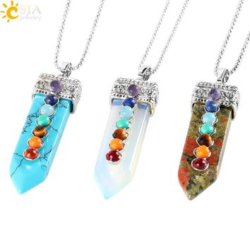 7 Chakra Sword Pendulum Natural Round Gem Stone Beads Healing Reiki Pendant Necklace