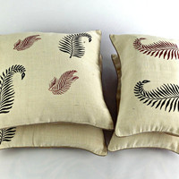 Block Print Leaf Pillow, Pillow Covers for Sofa, Modern Toss Pillow, Ribbon Pillow Cases