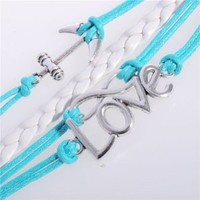 MOKOLO Silver Infinity Anchor Love Charms Leather Suede Wrap bracelet Light Green Gift