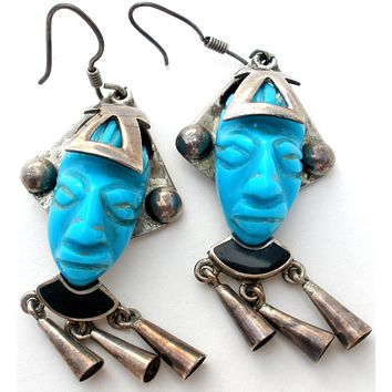 Carved Turquoise Mask Earrings Sterling Silver