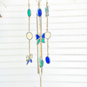 Butterfly Wind Chime Stained Glass and Macrame Free Shipping