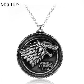 MQCHUN Jewelry Game of Thrones necklace House Stark Winter Is Coming Wolf Head Round Pendant Necklace Christmas Collar Souvenir