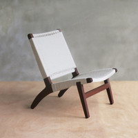White Mid-Century Modern Lounge Chair with Walnut Frame and Woven Seat by Masaya and Company