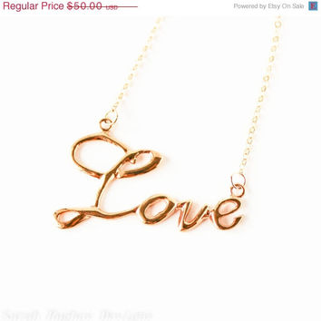 VALENTINES DAY SALE Valentine Day Sale Love handwriting 10k gold plated necklace