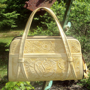 Hand Tooled BIG Leather Cream Color Summer Purse Handbag Western Aztec Mayan Mexico, EXC CONDITION