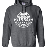 Made In 1954 With All ORIGINAL Parts Printed Graphic Hooded Sweatshirt Great Birthday Graphic Hoodie Awesome Gift For Birthdays