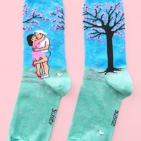 Date Under The Cherry Blossom Tree Women's Crew Socks - LAST ONE!