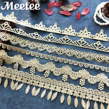 Gold Black Water Soluble Lace Trim Fabric Skirt Decoration Embroidery Laces Ribbon DIY Sewing Accessories Craft Christmas Gift