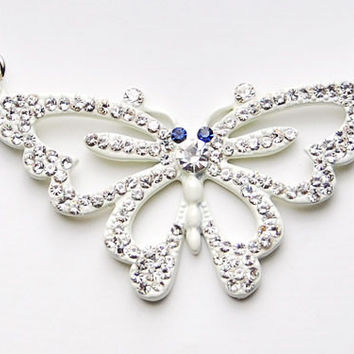 White Clear Crystal Rhinestone Butterfly Spread Wings Costume Pendant Necklace