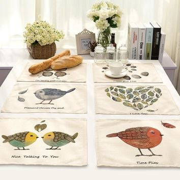 Animal Series Cotton Linen Art Heat Insulation Western-style Food Pad Hand Lovely Birdie Leaf Printing Foreign Trade Tableware