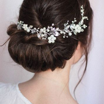 Bridal Headpiece with Opals and Rhinestones