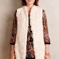 Hei Hei Embroidered Shaggy Vest in Ivory Size: