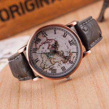 Unisex Vintage World Map Printed Leather Strap Band Watch
