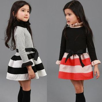Spring Autumn Girls Dress Casual Turtleneck Long Sleeve Children's Princess Dress 3 4 5 6 7 8 9 Year Kids Striped Clothes