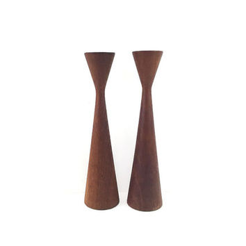 Signed Pair of Mid Century Danish Modern Wooden Candlesticks / Atomic Vintage Taper Candle Holders / Set of 2 Sculptural Home Accents