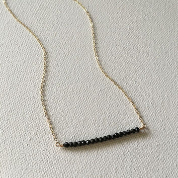 Black spinel bead bar gold necklace / bridesmaid necklace / dainty necklace / minimalist necklace