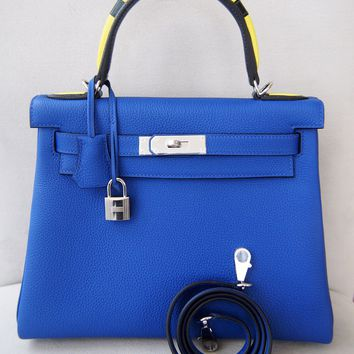 LIMITED New Authentic Hermes 28cm Kelly Au Galop blue electric Togo leather bag