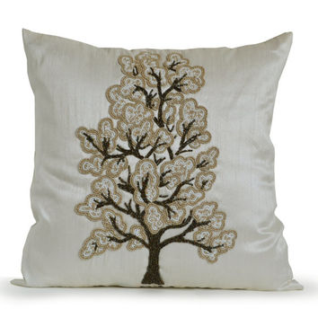 Luxury Decorative Pillow Cover White Silk Tree Bead Cushions -Gray Beige White Throw Pillow Cases -Bed Linens Gift for Wedding Anniversary