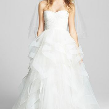 Reem Acra 'Eliza' Lace Detail Ruffled Tulle Wedding Dress (In Stores Only)