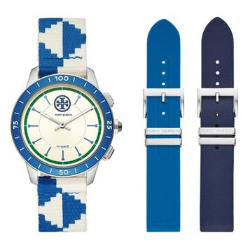 Tory Burch The Collins Hybrid Woven Strap Smart Watch Set, 38mm   Nordstrom