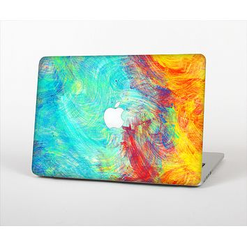 "The Vibrant Colored Messy Painted Canvas Skin Set for the Apple MacBook Pro 13"" with Retina Display"